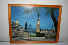 Original London Big Ben Parliament Square Oil Painting on Board by J. Shepherd