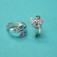 Kinder Creolen bunter Schmetterling 925/- Silber