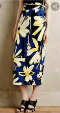 BNWT Anthropologie by Whit Two Printed Blue High Waist Maxi Skirt in size 00P