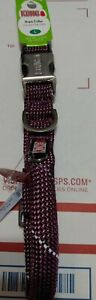 """NEW Kong Reflective Rope Collar For Dogs Size LARGE Neck 19""""-26"""" in Pink/Maroon"""