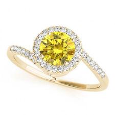 0.69 Ct Canary Yellow Diamond VS2 Halo Wedding Ring Stunning 14k Yellow Gold