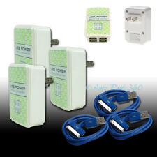 3X 4 USB PORT WALL ADAPTER+3FT CABLE POWER CHARGER BLUE FOR IPHONE 4S IPOD IPAD