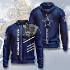 Dallas Cowboys Hoodie Football Fans Hooded Sweatshirt Full-Zip Jacket Activewear