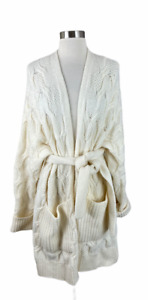 Joie L Omeed Porcelain Wool/Alpaca Blend Belted Cable Knit Cardigan Sweater
