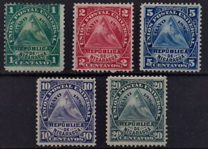 NICARAGUA 1882 Triangle with Coat of Arms Sc# 13,14,15,16,18 SET STAMPs MH