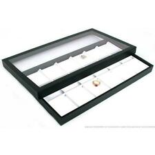 18 Slot Faux Leather Coin Display Acrylic Lid Case