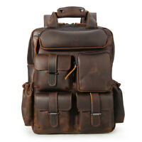 """Mens Real Leather Backpack 14"""" Laptop Bag Hiking Travel Camping Carry On Daypack"""