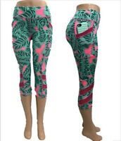 Womens YOGA Capri Workout Running Gym Sport Pants Leggings Fitness S/M