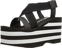 Rocket Dog Womens Bayer Webbing/Smooth Pu W/ Striped Eva Wedge Sandal 9