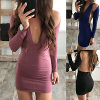 Fashion Women Long Sleeve Dress Bodycon V-Neck Backless Evening Party Mini Dress