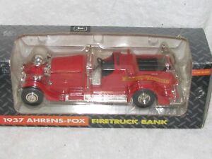 1937 AHRENS-FOX FIRETRUCK BANK 1/30 SCALE DIECAST ERTL 1993