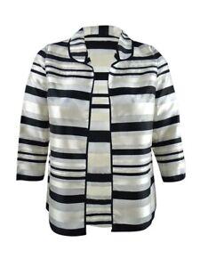 Kasper Women's Petite Shadow-Stripe Jacket (10P, Black Multi)