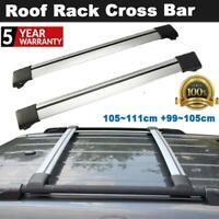 2PCS Adjustable Roof Rack Cross Bar Snowboard Carrier Sliver For Audi BMW Ford
