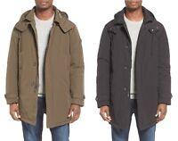 Ben Sherman $300 men real down Soutien collar hooded coat parka Black Olive S-XL