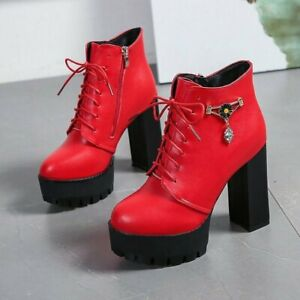 New Women's Gram Block High Heels Thick-Soled Lace-Up Buckle Zipper Ankle Boots