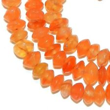 NG2589f Red Carnelian Agate 4x2-5x4mm Handcut Saucer Rondelle Gemstone Beads 14""