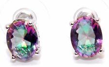 Sterling Silver Purple Mystic Topaz Opal 3.45ct Stud Earrings (925)