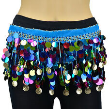 Gold Coins Multi Color Sequins Beads Belly Dance Hip Scarf Wrap Chiffon