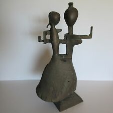 MID CENTURY PICASSO STYLE BRONZE METAL SCULPTURE ABSTRACT CUBISM MODERNISM 1950