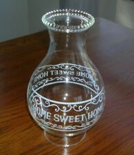 "Home Sweet Home oil lamp chimney shade beaded rim 8.5"" tall"
