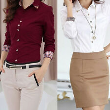 KE_ Women Office Formal Collar Button Up Blouse OL T-Shirt Tops Summer Clothes