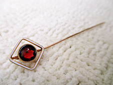 Ruby Gem Solid 14K Gold Stick Pin 1.4g Vtg Antique Victorian Edwardian Jewelry