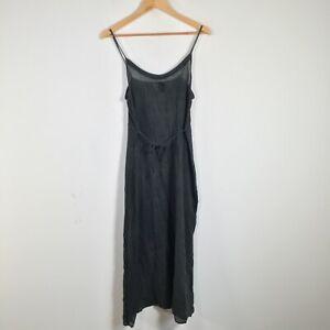 Peace angel womens slip dress size 8-10 dark green sheer belted 46.0024