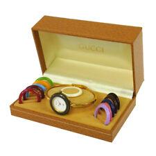 Authentic GUCCI Vintage Change Bezel Quartz Wristwatch Bangle Gold AK18245