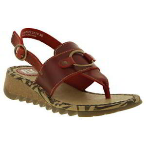 Fly London Tune Womens Ladies Wedge Red Toe Post Sandals Size UK 8
