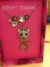 Betsey Johnson Kitty Necklace With Fish in Tummy and Heart Earrings Set ORG