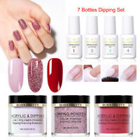 7Pcs BORN PRETTY Dipping Powder Nail Dip Liquid Glitter NO UV Lamp Starter Kit