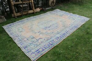 "Vintage Handmade Turkish Muted Distressed Oushak Area Rug 10'3""x6'7"""