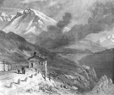 FRANCE. railway over The Alps-peak of Mont Cenis & lake, antique print, 1869