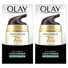 Olay Total Effects 7in1 Anti-Ageing Moisturiser, Fragrance-Free, 2 Pack, 50ml