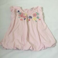 Little Rocha pink floral embroidere puff dress baby girls clothes 3-6 Months