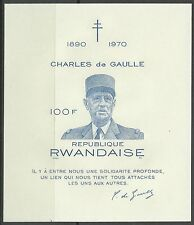 Rwanda Ruanda General De Gaulle Bloc Non Dentele Imperf Proof Ungezahnt ** 1970