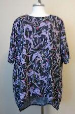 LuLaRoe Simply Confortable Black Purple Maleficent Short Sleeve Top Size 3XL