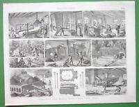 MINING Coke Production Kilns Ovens Furnaces - Original Engraving Print