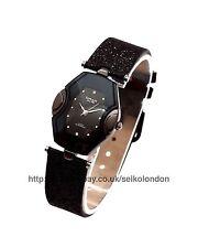 Omax Ladies Black Dial Watch, Black Glitter Strap, Seiko (Japan) Mvt. RRP £49.99