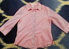 FOXCROFT SPORT SIZE 10 BUTTON UP V NECK BLOUSE WRINKLE FREE 3/4 sleeve pink