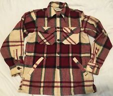 WOOLRICH Plaid Mackinaw 100% Pure Wool Hunting Chore Coat Jacket Shirt Red Tan