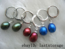 3pairs freshwater pearl red green blue egg earring