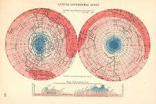 C1875 Mapa ~ anual isotérmico líneas ~ Temperatura Hemisferio North & South Pole