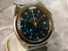 Bulova 'WRIST ALARM' 1973 vintage manual wind watch Date 11AURCD Blue dial Rare