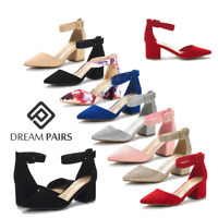 DREAM PAIRS Women Pump Shoes Ankle Strap Pointed Toe Low Chunky Dress Shoes