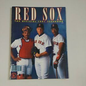 1991 Boston Red Sox Official Yearbook Tony Pena Ellis Burks Roger Clemens
