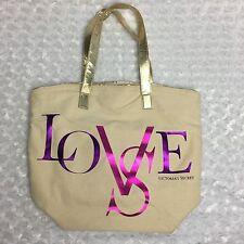 Victoria's Secret Gold Tote Bag w/ Purple & Pink Metallic LOVE written on front
