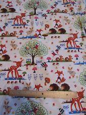 Cream Woodland/Deer/Fox/Possum/Rabbit/Owl Cotton Fabric by the Yard