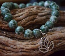 Open Energy Silver Lotus Flower Green Spotted Jasper Gemstone Beaded Bracelet
