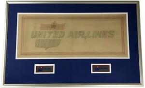 BIG Vintage 1950s UNITED AIR LINES UAL Framed Patch Art Work Drawing Ad Logo